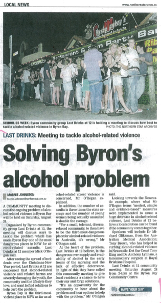 alcohol issues in Byron bay