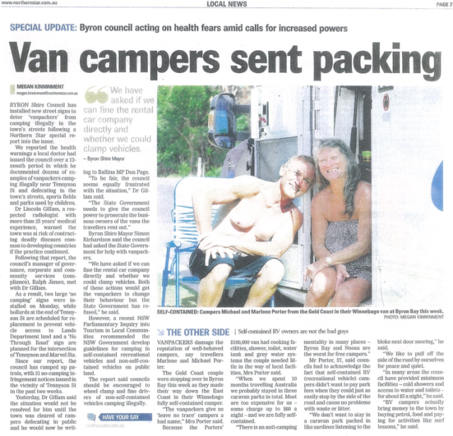 byron van packing illegal campingScreen Shot 2014-03-21 at 1.01.03 pm